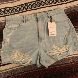 Forever 21 Destroyed High Waisted Shorts
